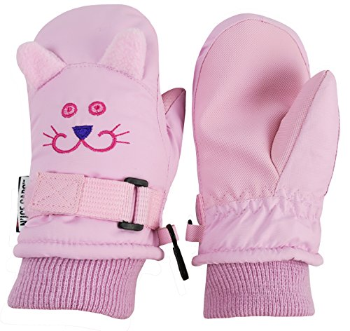 Hand Embroidered Ski (N'Ice Caps Girls Cute Animal Faces Waterproof Winter Ski Mittens (3-5yrs, Kitty - Pink))