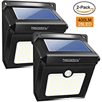 Motion Sensor Solar Lights Outdoor, Neloodony Super Bright 28 LED Wireless Waterproof Solar Wall Outside Lighting, Wide Angle Solar Security Light for Porch Patio Yard Deck Path Driveway (2 pack)
