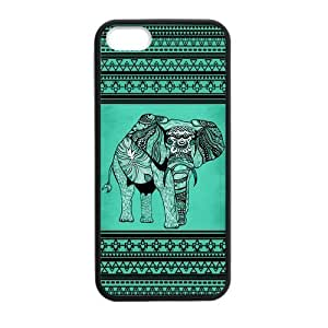 Canting_Good Elephant aztec tribal Custom Case Shell Skin for iPhone 5 5S TPU (Laser Technology)
