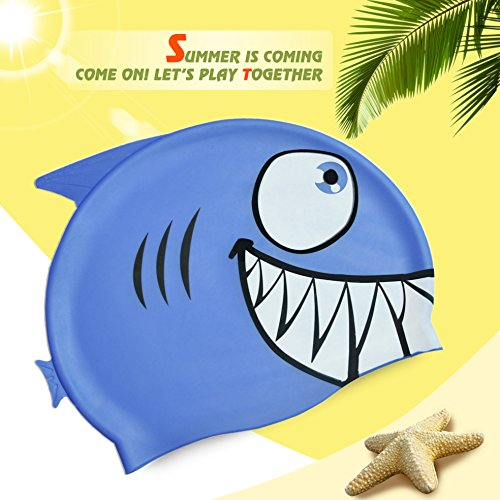 Calunce swim caps for kids / children / boys / girls - shark silicone swimming cap - Highly elastic,Greater durability than latex swimming hats Non allergenic,blue