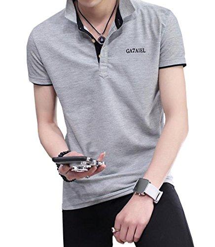 PuHao (プハオ) メンズ Tシャツ ポロシャツ ワイシャツ 夏着 パーカー 半袖 無地 襟付き シンプル poloシャツ スリム 着痩せ かっこいい トップス カジュアル おしゃれ ゴルフウェア (グレー03, 2XL)