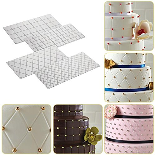 Tacoli- Impression Mats Cake Decorating- 4pcs/Set Grid Transparent Texture Mat Cake Border Decorating Tool Cake Mold Fondant DIY Make Cake Mould Bakeware Baking Tools by Tacoli