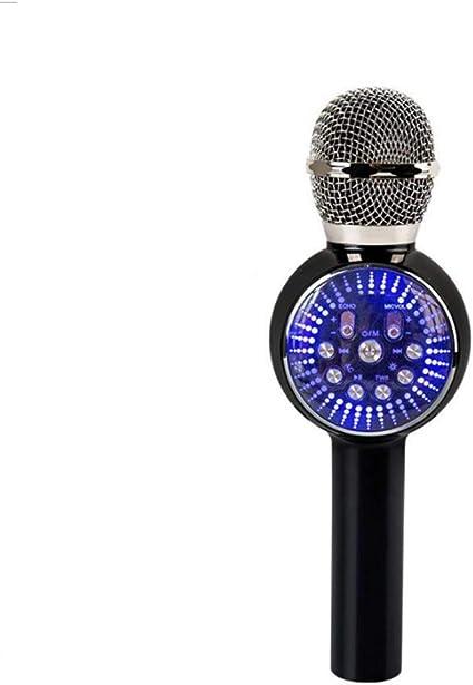 YCAXZSH Micrófono de navidad Micrófono inalámbrico Teléfono móvil Karaoke Cantamos Instrumento Micrófono Bluetooth con luces LED de colores, negro: Amazon.es: Instrumentos musicales