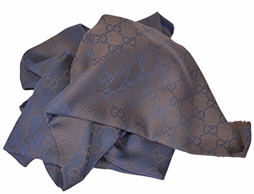 Gucci Women's Wool Silk Blend GG Guccissima Large Scarf (Blue/Brown) by Gucci