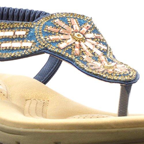 Kudde Promenad Blå Juvel Tå Post Komfort Sandal Blå