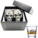 Vodolo Whiskey Stones|Skull Ice Stones|Hand Carved Reusable Wine Stone| 100% Natural Pure Granite Chilling Rocks|Bar Ice cubes Supplies|Set of 2 in Gift Box