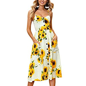 Angashion Women's Dresses-Summer Floral Bohemian Spaghetti Strap Button Down Swing Midi Dress with Pockets