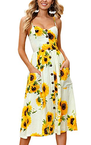 Angashion Women's Dresses-Summer Floral Bohemian Spaghetti Strap Button Down Swing Midi Dress With Pockets, Yellow, Small