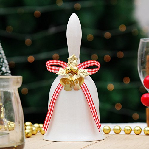Ceramic Bell (White Ceramic Christmas Bell Ornament, 5.5