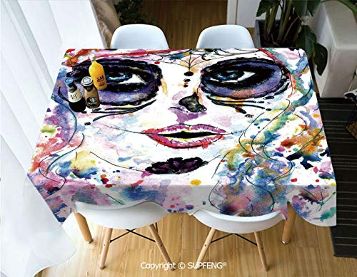 Rectangular tablecloth Halloween Girl with Sugar Skull Makeup Watercolor Painting Style Creepy Decorative (55 X 72 inch) Great for Buffet Table, Parties, Holiday Dinner, Wedding & More.Desktop decora]()
