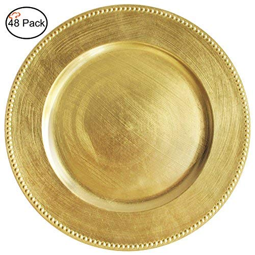 Tiger Chef 13-inch Gold Round Beaded Charger Plates, Set of 2,4,6, 12 or 24 Dinner Chargers - Set of - Lacquer Charger Gold