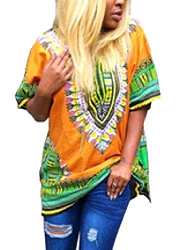 T Dashiki Mini In Stampate Giallo Abito Moda Maglietta Del Manicotto Alla Sciolto donne Alto Partito Coolred Corto nw4RzqUWW