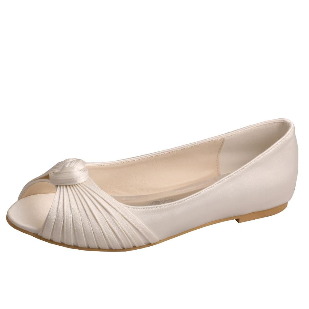Wedopus MW989 Women's Pleating Peep Toe Ballet Flats Satin Wedding Shoes for Bride Size 12 Ivory