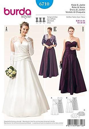 Burda Ladies Plus Size Sewing Pattern 6710 Wedding & Bridesmaid Dresses & Bolero