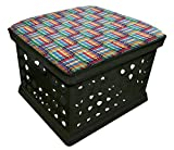 Black Utility Crate Storage Container Ottoman Bench Stool for Office/Home/School/Preschools with Your Choice of Seat Cushion Theme! (Crayons)