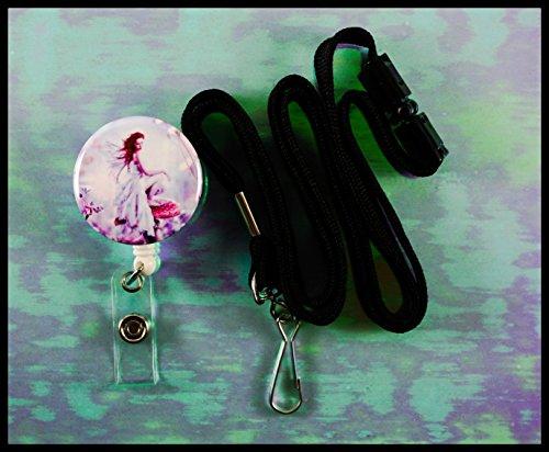 Lanyard Fairy (Pink Fairy Mushroom White Badge Reel with Safety Lanyard)