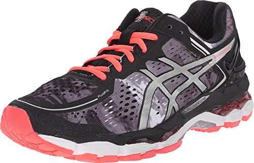 ASICS Women's Gel Kayano 22 Running Shoe, Black/Flash Coral/White, 9 M US