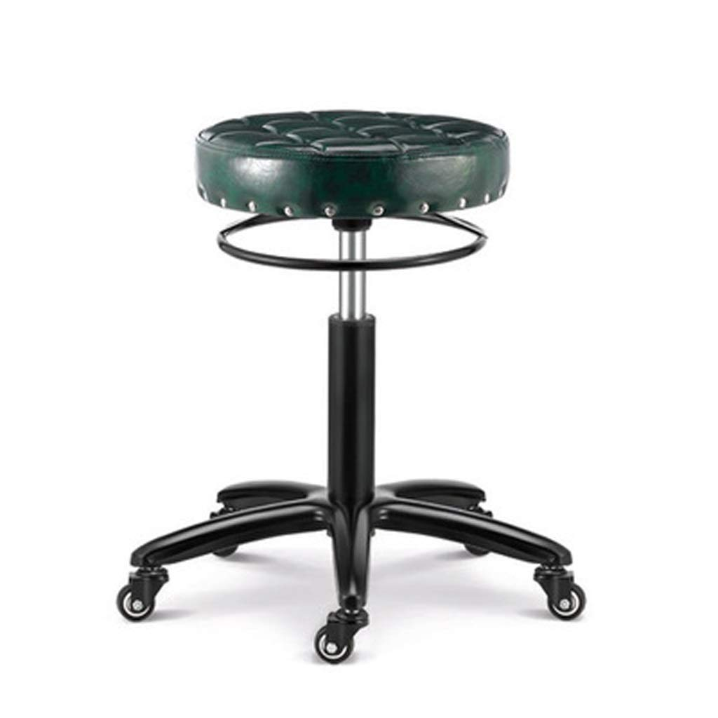 Green Llsdls redating Bar Stool, Furniture Stainless Steel Adjustable Height Adjustable Modern Minimalist Wrought Iron Home High Stool with Pulley Leather Soft Cushion, Beauty Shop Hair Salon Barstoo.