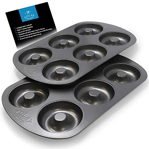 Non-Stick Donut Pan for Baking Delicious Healthy Donuts and Bagels - High-Grade Carbon Steel Doughnut Pan - 6-Cavity Donut Hole Pan Set with Non-Stick Surface by Zulay Kitchen (Pack of 2) (Cast Iron Donut Pan)