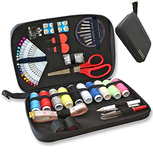 SEWING KIT - 90 Quality Easy Access Essential Sewing Supplies, Packed with Longer Spools of Thread, Scissors, Includes Easy to Thread Needle, Perfect Starter, Adults, Beginners, Best For Home, Travel