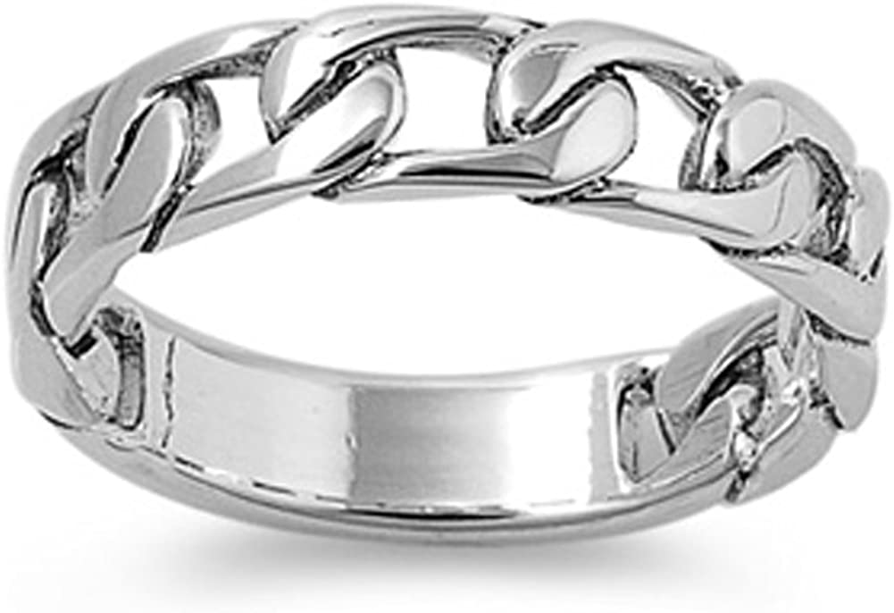 Sterling Silver Womens Mens Curb Link Ring Fashion 925 Band 5mm Sizes 5-12