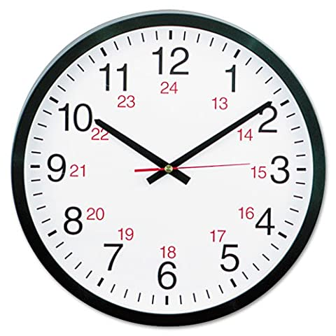 Universal® - 24-Hour Round Wall Clock, 12-1/2in, Black - Sold As 1 Each - Translate time to military time at a (24 Hour Dial Clock)