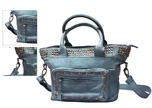 - Leather Bag Drum Dyed with Vintage wax and rivets. (Light Blue)