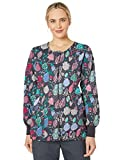 Chloe Womens Printed Warm Up Jacket Medical Scrubs Shirt