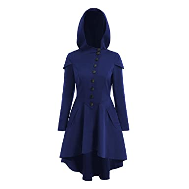 a64f5586a2fea SKM Women s Long Sleeve Layered Lace Up Back High Low Hem Hooded Coat  Fashion Long Overcoat S-2XL at Amazon Women s Clothing store