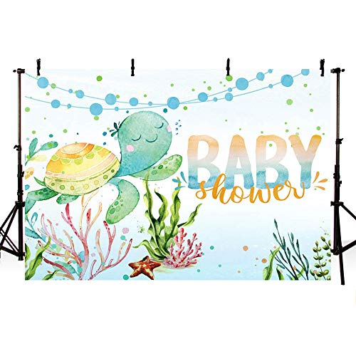 - MEHOFOTO 7x5ft Ocean Baby Shower Photography Backdrop Under The Sea Sea Turtle Boy Party Decoration Starfish Ocean Theme Baby Shower Photo Studio Booth Background Banner for Cake Table Supplies