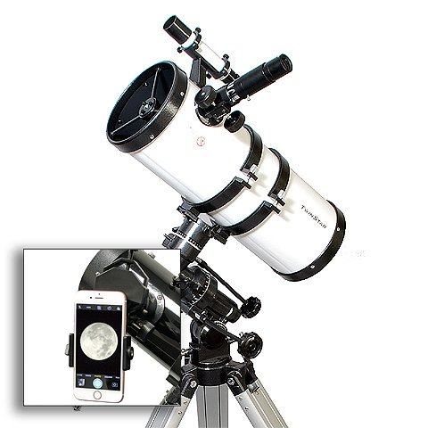 AstroVenture 6'' Short Tube Reflector Telescope With Universal Smartphone Camera Adapter (White) by Twin Star