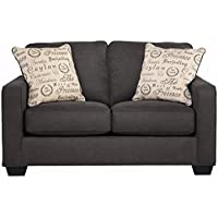 Ashley Furniture Signature Design - Alenya Sofa Loveseat with 2 Throw Pillows - Classic Upholstery - Vintage Casual - Charcoal