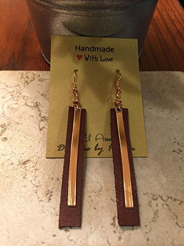 Leather and Copper Long Drop earrings Lever Backs Essential oil diffuser earrings Gift Idea Joanna Gaines Inspired Rustic handcut Brown Leather