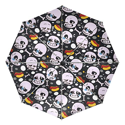 ERYUED Undertale Sans Umbrellas Auto Open Close 3 Folding Golf Strong Durable Compact Travel Umbrella Uv Protection Portable Lightweight Easy Carrying and Slip-Proof Handle