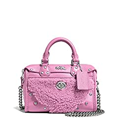 Coach Rhyder 18 Peacock Leather Satchel in Shearling