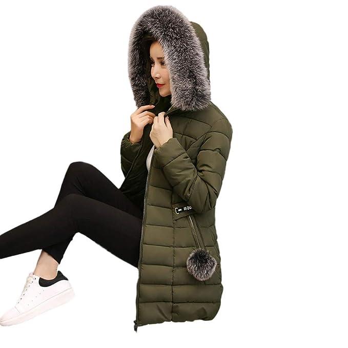 Amazon.com: BOOMJIU Women Hooded Outwear Warm Coat Long Thick Fur Collar Coat Cotton Parka Slim Jacket Solid Color Outwear: Clothing