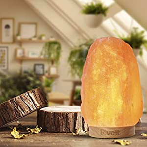 Levoit Himalayan Large Salt Rock Lamp, Pink Crystal Hand Carved Hymalain Lamps with Real Rubber Wood Base, Dimmable Touch Switch, Holiday Gift (UL-Listed, 2 Extra Original Bulbs Included)