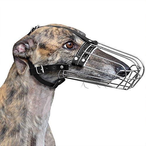 BronzeDog Greyhound Muzzle for Adult Dogs Metal Wire Basket Adjustable Leather Straps (Basket Muzzle Greyhound)