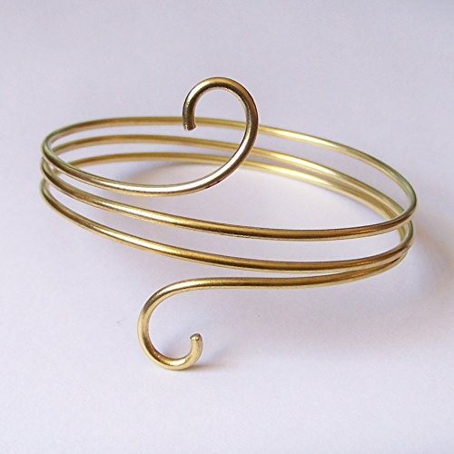 (Upper Arm Bracelet - Layered Armlet with Mini Swirls - Armband - Upper Arm Cuff - in Gold Silver Copper or Bronze)