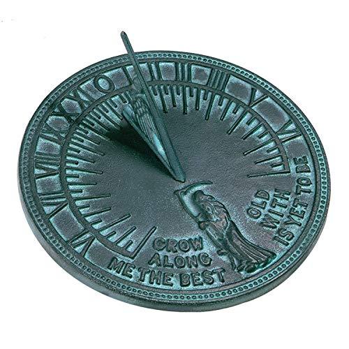 ANTIQUECOLLECTION Father Time Sundial, Cast Iron Verdigris Finish, 11.5-Inch Diameter