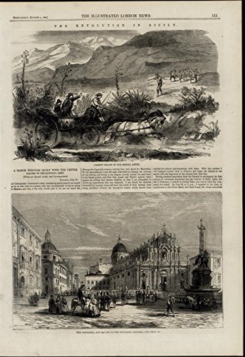 Escape from Marauders Catania Square Cathedral wonderful 1860 unusual old print