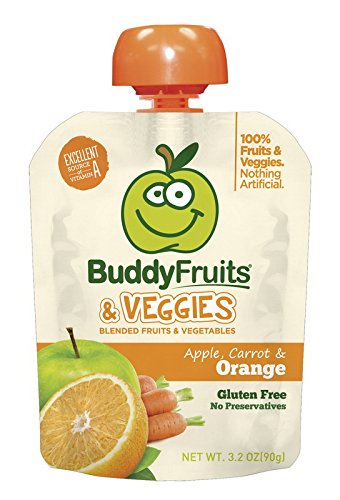 Buddy Fruits Fruits and Veggies, Carrot & Orange, 3.2-Ounce Packages (Pack of 16) by Buddy Fruits (Image #1)'
