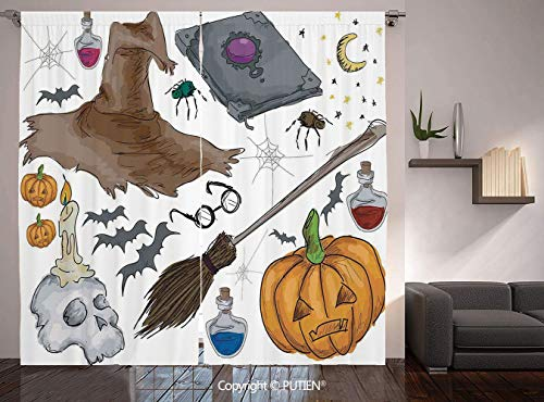 Thermal Insulated Blackout Window Curtain [ Halloween Decorations,Magic Spells Witch Craft Objects Doodle Style Grunge Design Candle Skull,Multi ] for Living Room Bedroom Dorm Room Classroom Kitchen C]()