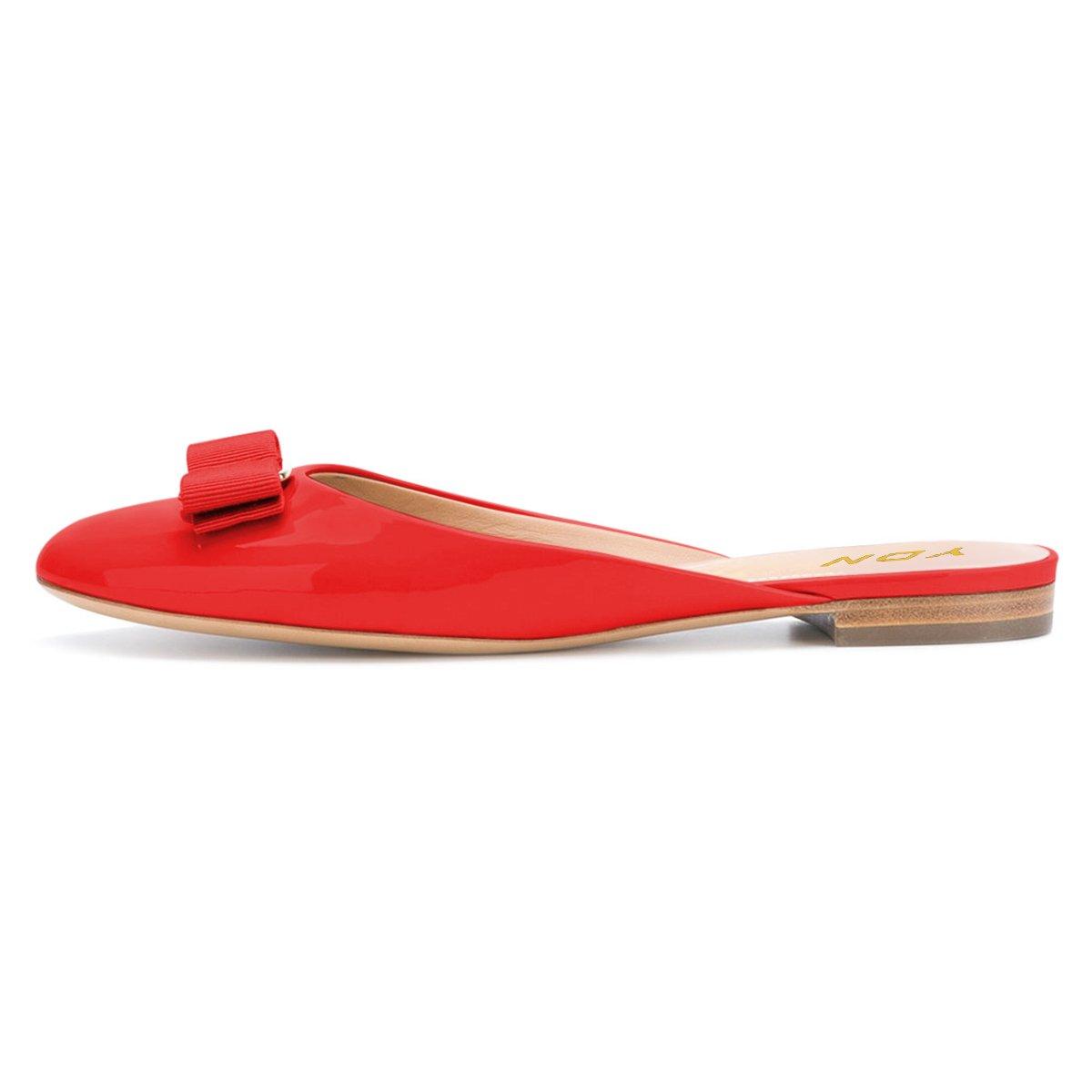 7eddece77e5 YDN Women Round Toe Low Heel Flats Slip on Bowknot Slippers Summer Slide  Clog Shoes