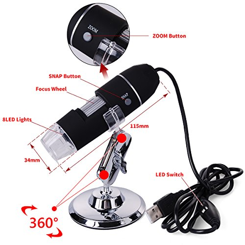 XCSOURCE 20X-800X 8 LED USB 3D Digital Zoom Microscope Endoscope Magnifier PC Video Camera with Stand TE071