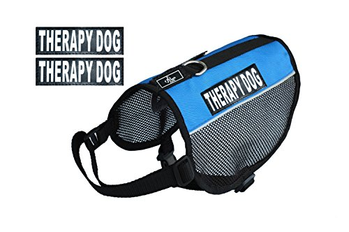 Therapy Service Dog mesh Vest Harness Cool Comfort Nylon for Dogs Small Medium Large Purchase Comes with 2 Reflective Therapy Dog pathces. Please Measure Your Dog Before Ordering (Girth 15-20