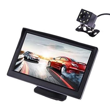 Cámara de visión trasera para coche, sistema de aparcamiento de marcha atrás, TFT LCD de 5 pulgadas, impermeable, visión nocturna, cámara de seguridad: ...