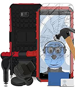 iTALKonline Nokia Lumia 930 Red Black Tough Hard Shock Proof Rugged Heavy Duty Case Cover with Viewing Stand - Tempered LCD Screen Protector with MicroFibre Polishing Cleaning Cloth Application Card, 360 Degrees Rotating Case Compatible In Car Windscreen Suction Mount Holder and 1000 mAh In Car Charger LED Indicator and Overload Protection
