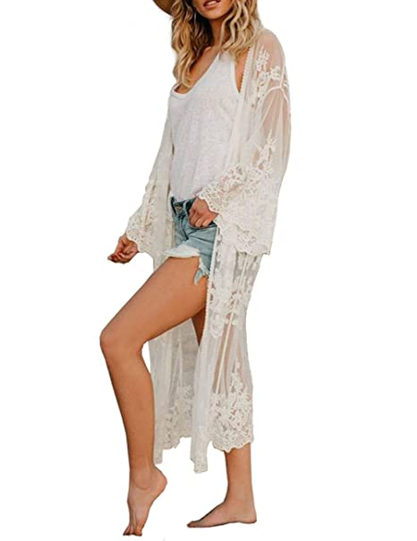 a50f2bb095 Kimono Beach Cover up Womens Summer Long Embroidered Lace Cardigan Half  Sleeves White Blouse (one