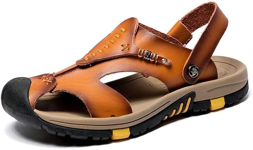 Bronze,Lable 38//6 D Mens Leather Sandals Comfortable Soles Breathable US Men M